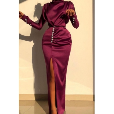 Lovely Party Slit Wine Red Maxi Dress