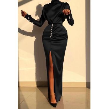 Lovely Party Slit Black Maxi Dress