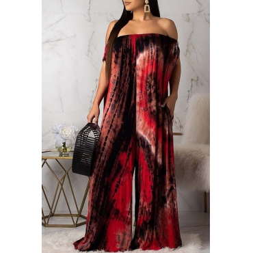 Lovely Leisure Loose Print Red One-piece Jumpsuit