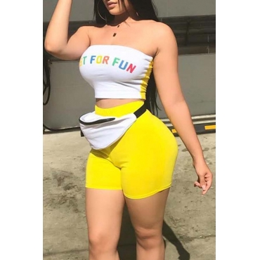 Lovely Casual Letter Print Yellow Two-piece Shorts Set