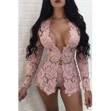 Lovely Sweet Hollow-out Pink Two-piece Shorts Set
