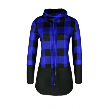 Lovely Casual Patchwork Blue Plus Size Hoodie