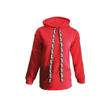 Lovely Casual Hooded Collar Red Plus Size Hoodie