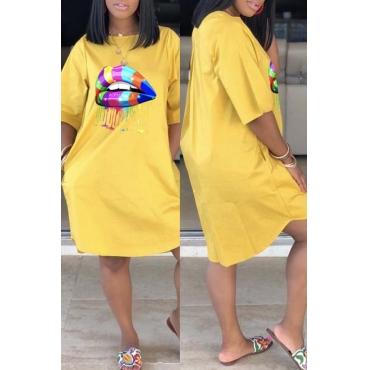 Lovely Casual Lip Print Yellow Knee Length Dress