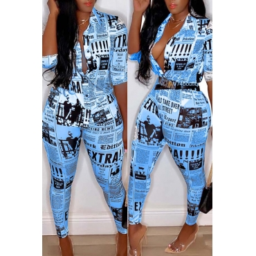 Lovely Casual Print Blue Plus Size Two-piece Pants Set
