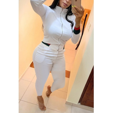 Lovely Casual Zipper Design White Two-piece Pants Set
