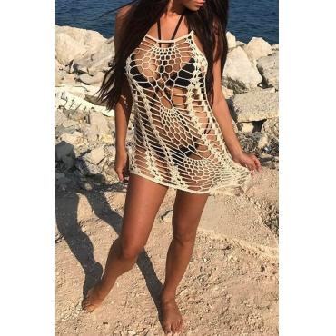 Lovely Hollow-out Beige Beach Dress