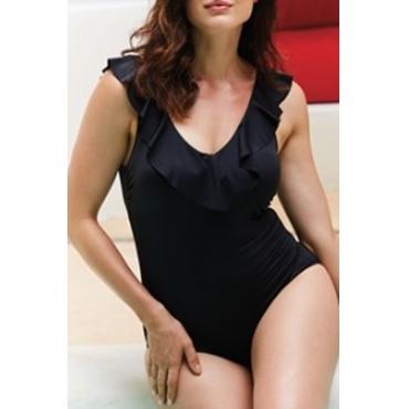 Lovely Flounce Design Black Plus Size One-piece Swimwear