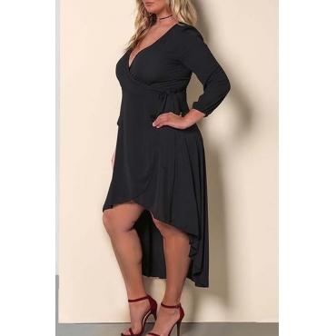 Lovely Casual V Neck Black Ankle Length Plus Size Dress