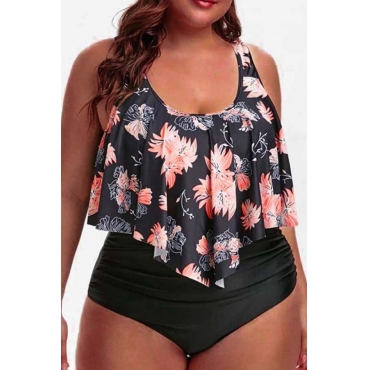 Lovely Casual Print Croci Plus Size Two-piece Swimsuit