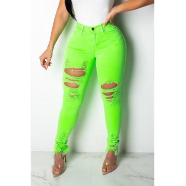 Lovely Trendy Broken Holes Green Jeans