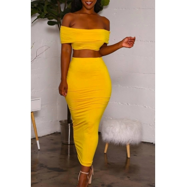 Lovely Casual Backless Yellow Two-piece Skirt Set