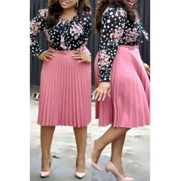 Lovely Casual Print Pink Knee Length Plus Size Dress