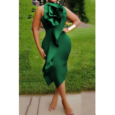 Lovely Chic Flounce Green Mid Calf Plus Size Dress
