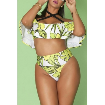 Lovely Flounce Green Plus Size Two-piece Swimsuit