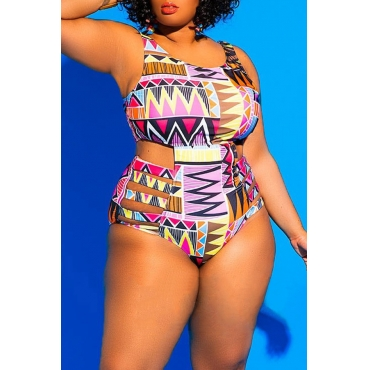 Lovely Print Orange Plus Size One-piece Swimsuit