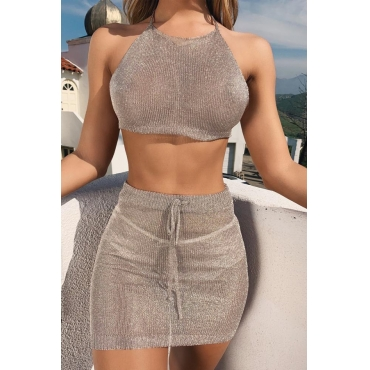 Lovely Casual Crop Top Khaki Two-piece Skirt Set
