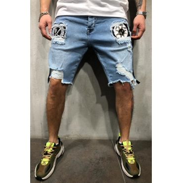 Lovely Casual Patchwork Baby Blue Shorts