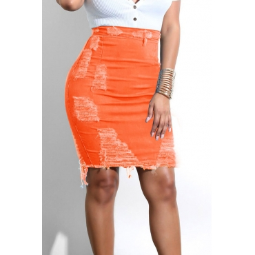 Lovely Chic Hollow-out Orange Red Skirt