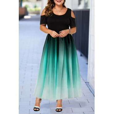Lovely Casual Patchwork Green Ankle Length Plus Size Dress