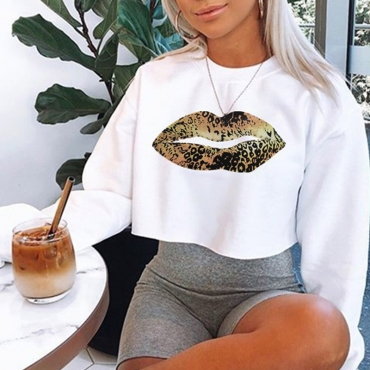 Lovely Casual Crop Top White Hoodie