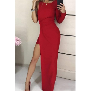 Lovely Party Slit Red Maxi Dress