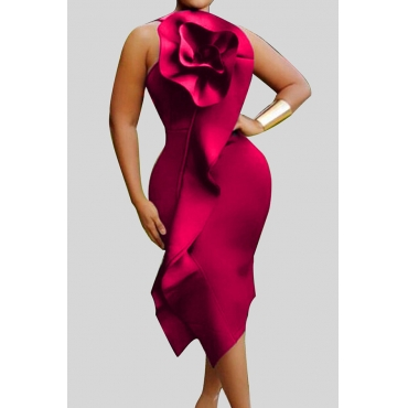 Lovely Chic Flounce Red Mid Calf Plus Size Dress