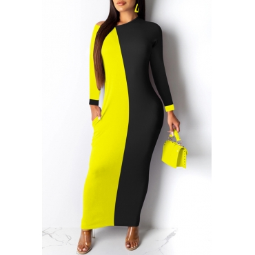 Lovely Chic Color-lump Patchwork Yellow Ankle Length Dress