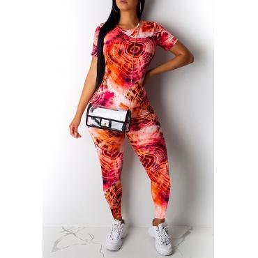 Lovely Casual Basic Print Jacinth Two-piece Pants Set
