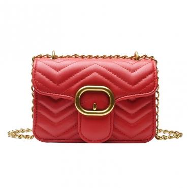 Lovely Chic Chain Design Red Crossbody Bag