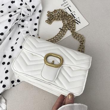 Lovely Chic Chain Design White Crossbody Bag