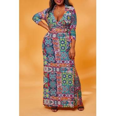 Lovely Casual Print Rose Red Maxi Plus Size Dress