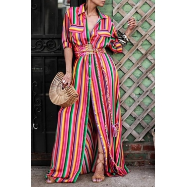 Lovely Trendy Striped Red Maxi Shirt Dress
