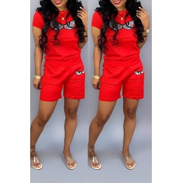Lovely Chic Eye Print Red Two-piece Shorts Set
