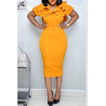 Lovely Sweet V Neck Flounce Yellow Knee Length Dress