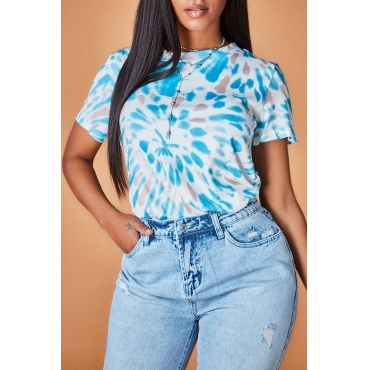 Lovely Casual Print Canal Blue T-shirt
