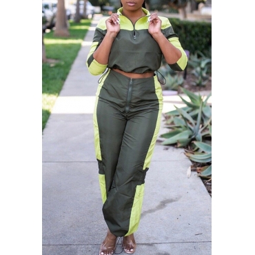 Lovely Casual Patchwork Olive Two-piece Pants Set