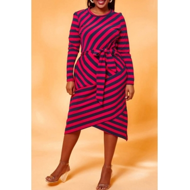 Lovely Chic  Striped Red Knee Length Plus Size Dress