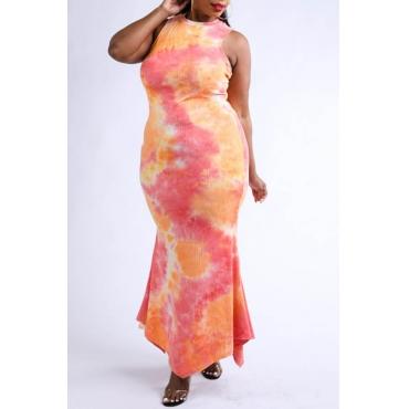 Lovely Bohemian Print Skinny Orange Ankle Length Plus Size Dress