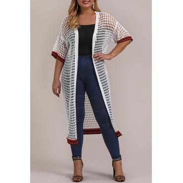 Lovely Casual Hollow-out White Plus Size Coat