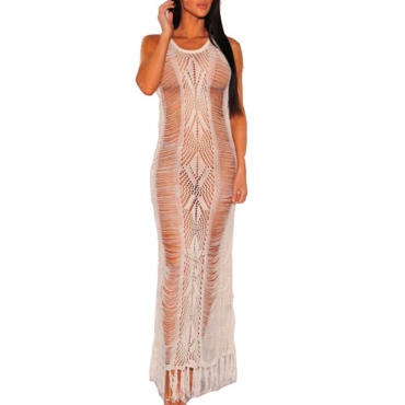 Lovely Hollow-out White Beach Dress