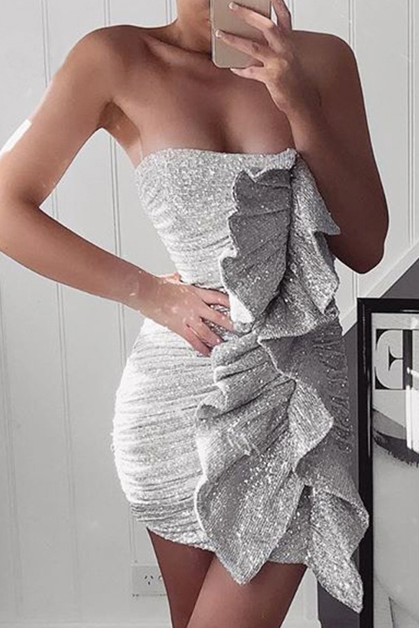 Lovely Party Flounce Patchwork Silver Prom Dress