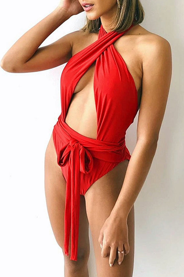 Lovely Hollow-out Red One-piece Swimsuit
