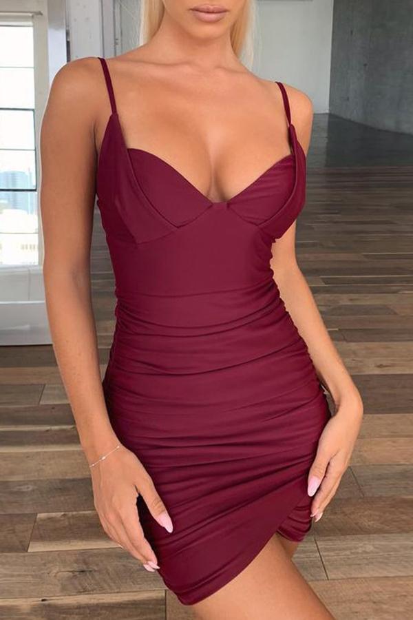 lovelywholesale / Lovely Trendy Fold Design Wine Red Mini Dress