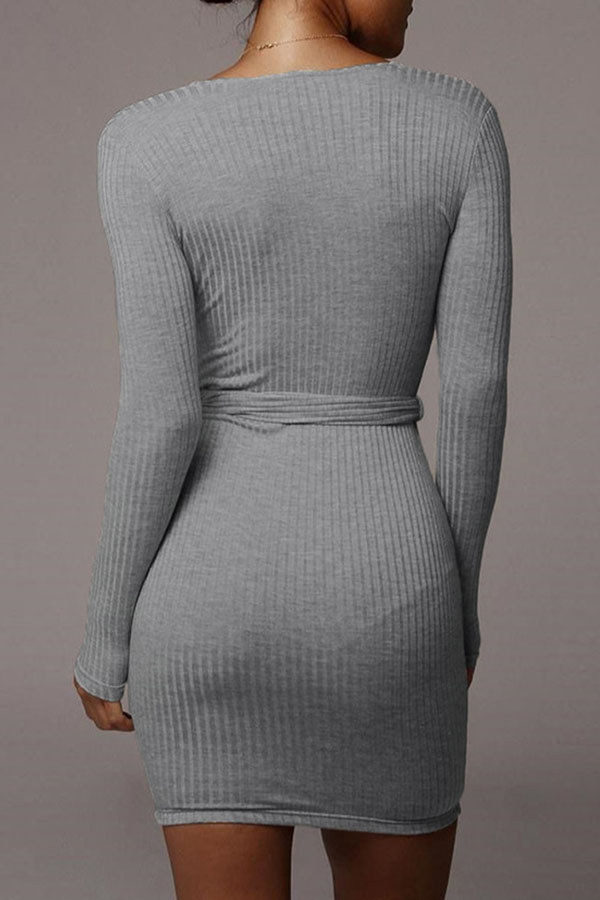 Lovely Casual V Neck Basic Grey Mini Dress