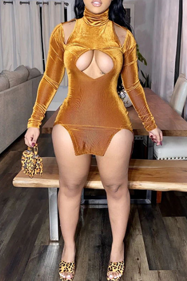 Lovely Polyester Sexy Solid Regular sleeve Slit Re