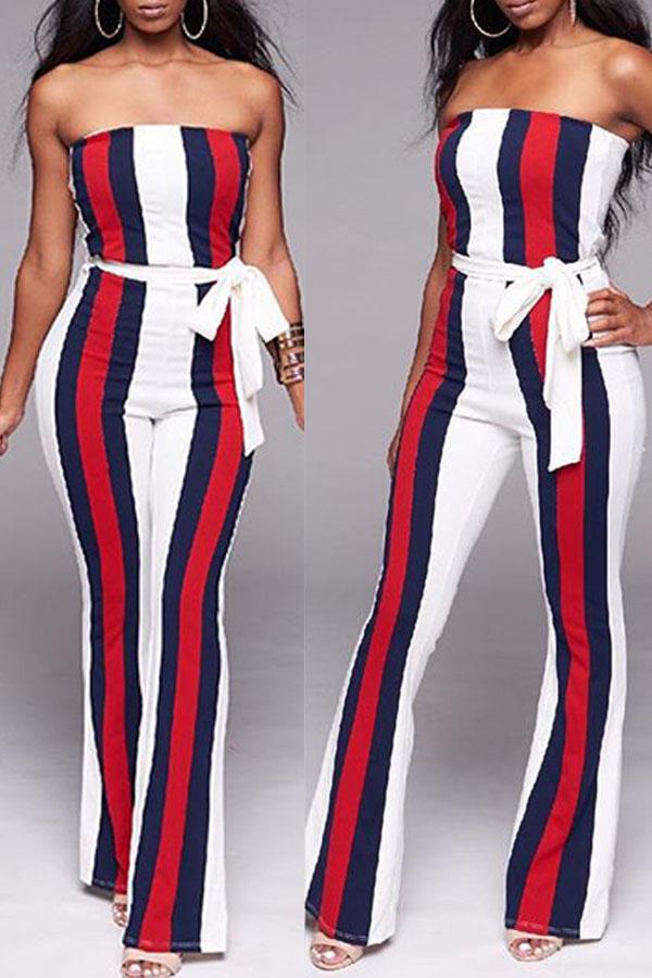 Lovely  Bohemian Striped White One-piece Jumpsuit