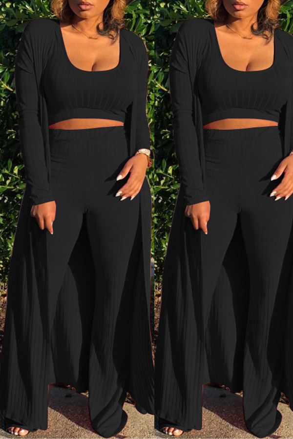 Lovely Casual Loose Black Two-piece Pants Set