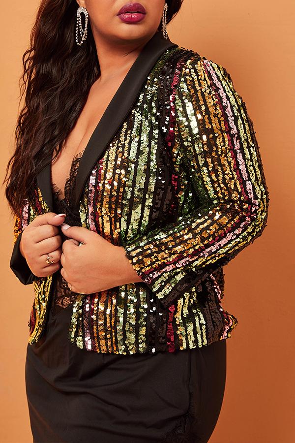 Lovely Trendy Patchwork Multicolor Plus Size Blazer