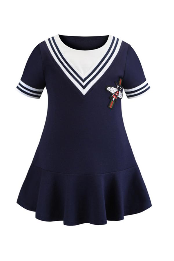 Lovely Sweet Patchwork Dark Blue Girl Knee Length Dress